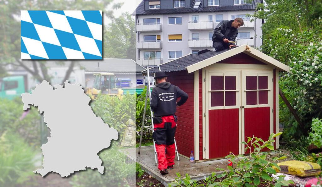 Unser Gartenhaus-Aufbauservice und Carport-Montageservice ist auch in Bayern für Sie tätig!