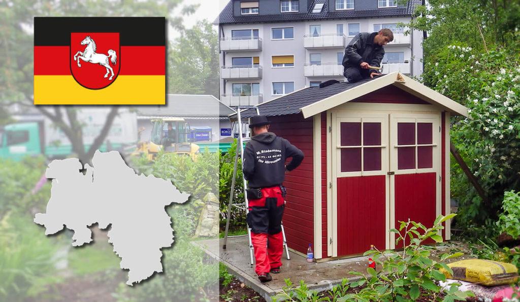 Unser Gartenhaus-Aufbauservice und Carport-Montageservice ist auch in Niedersachsen für Sie tätig!