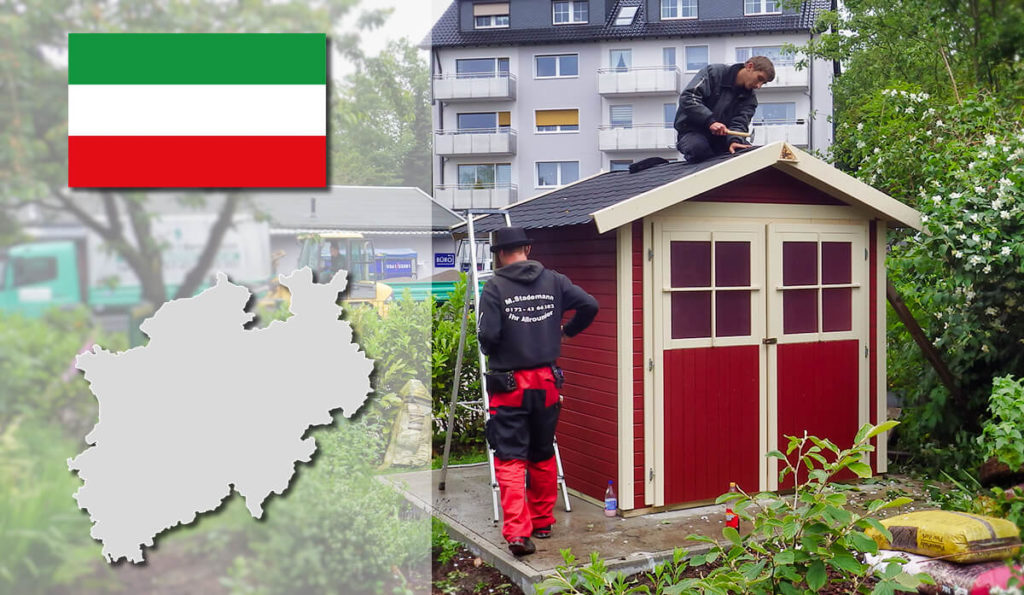 Unser Gartenhaus-Aufbauservice und Carport-Montageservice ist auch in Nordrhein-Westfalen für Sie tätig!