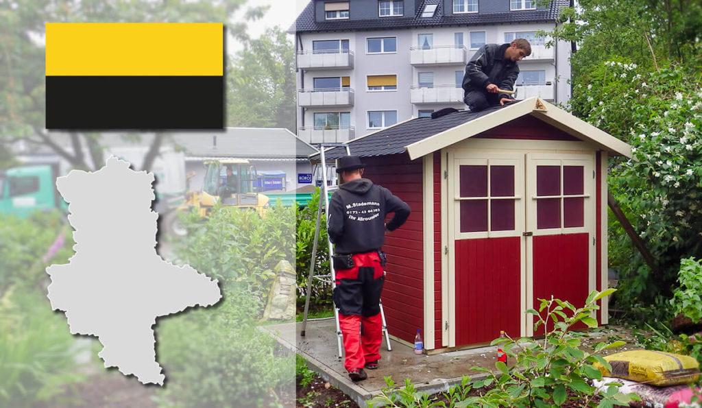 Unser Gartenhaus-Aufbauservice und Carport-Montageservice ist auch in Sachsen-Anhalt für Sie tätig!