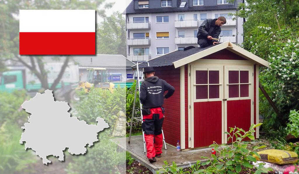 Unser Gartenhaus-Aufbauservice und Carport-Montageservice ist auch in Thüringen für Sie tätig!