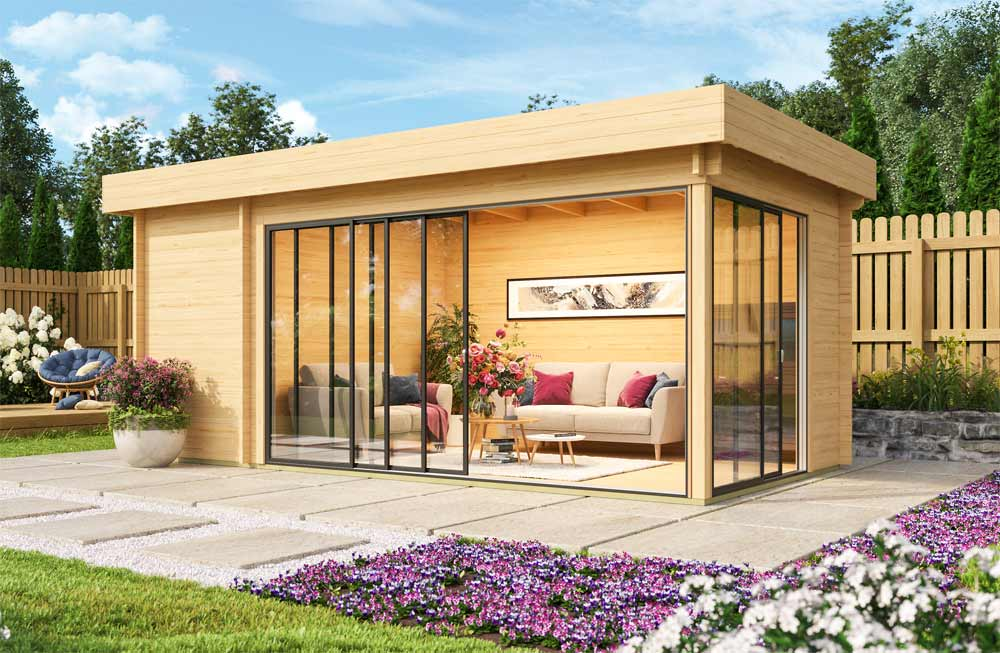 Gartenhaus ALU Concept, bodentief verglast