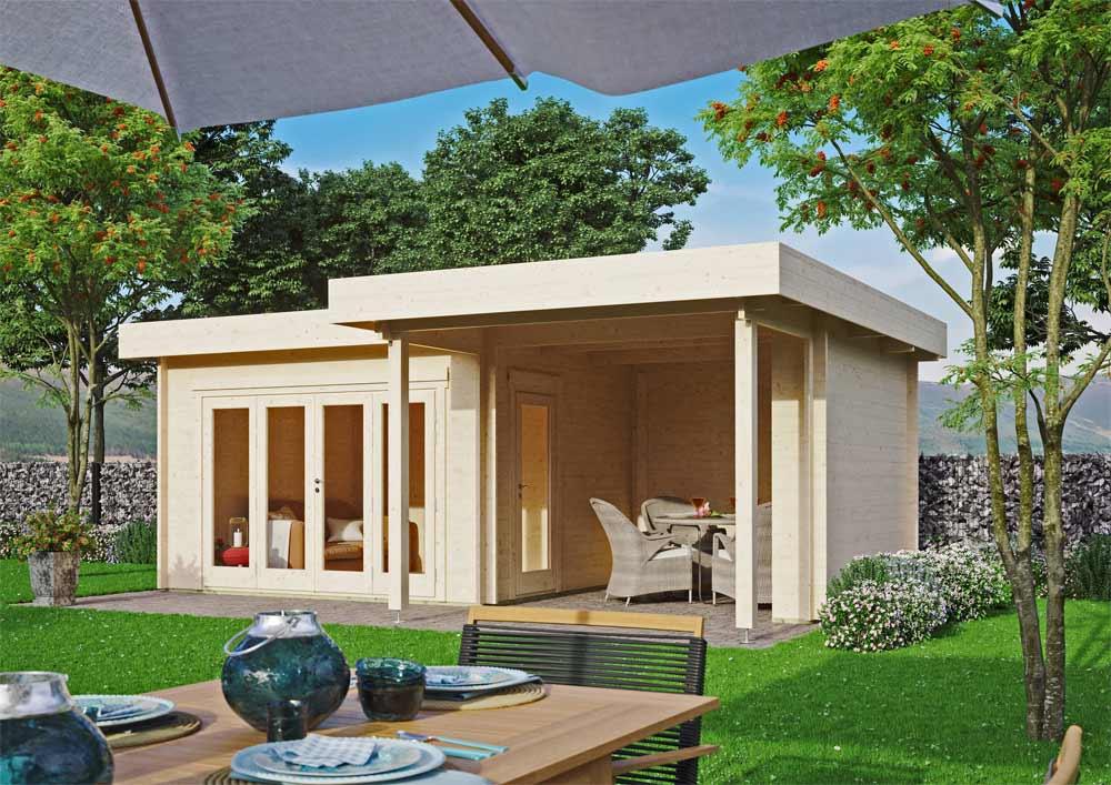 Modernes Gartenhaus mit Anbau