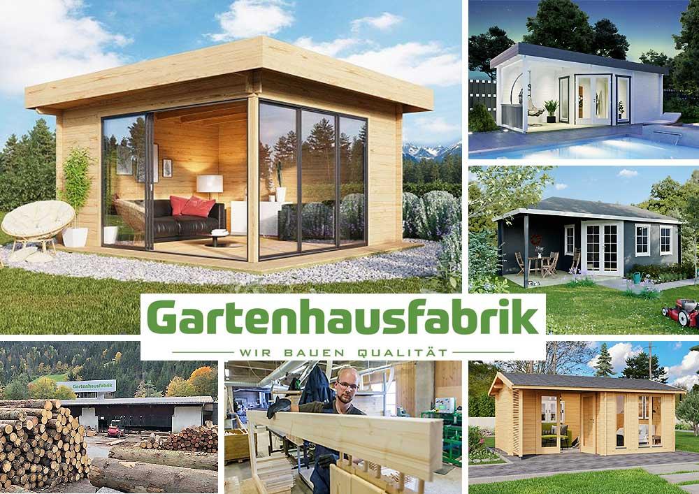 Gartenhausfabrik, Logo und Gartenhäuser